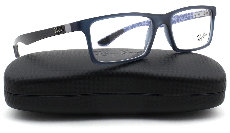c4b81e504bc2 Amazon.com: Ray-Ban RX8901 Carbon Fibre Unisex Eyeglasses (Blue Frame 5262,  53): Clothing