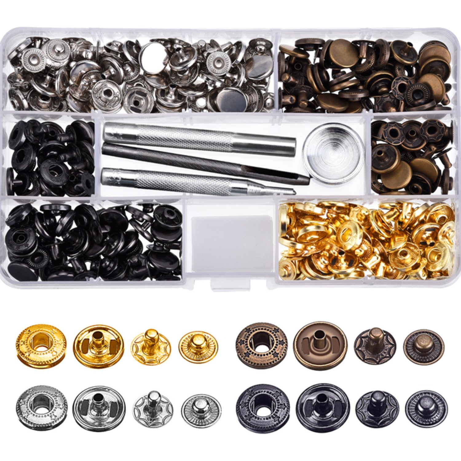 Hotop 80 Set Snap Fasteners Snaps Button Press Studs with 4 Pieces Fixing Tools, 12.5 mm in Diameter 4337005852