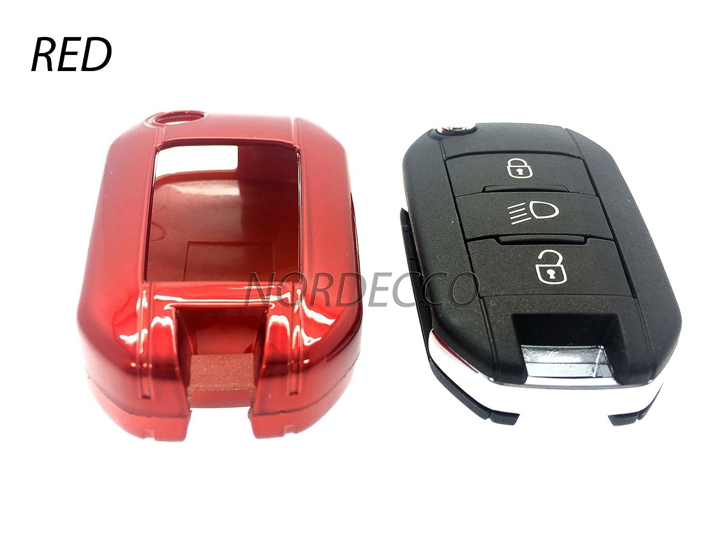 Custodia protettiva in plastica ABS rigida di alta qualità con finitura lucida per chiave elettronica adatta per auto Peugeot, di colore rosso PROTEX