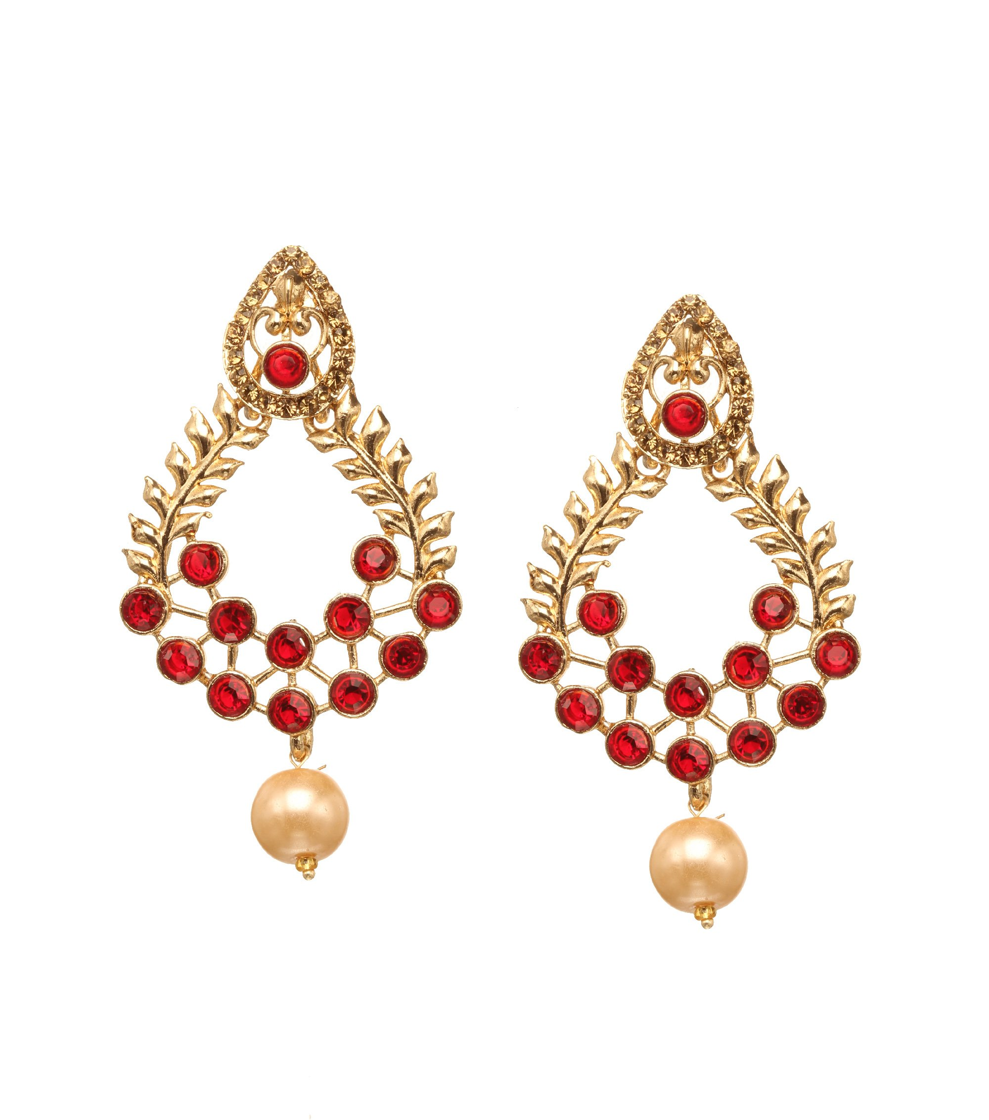 Bindhani Indian Bollywood Style Faux Pearl Drop Bridal Wedding Earrings For Women (Red)