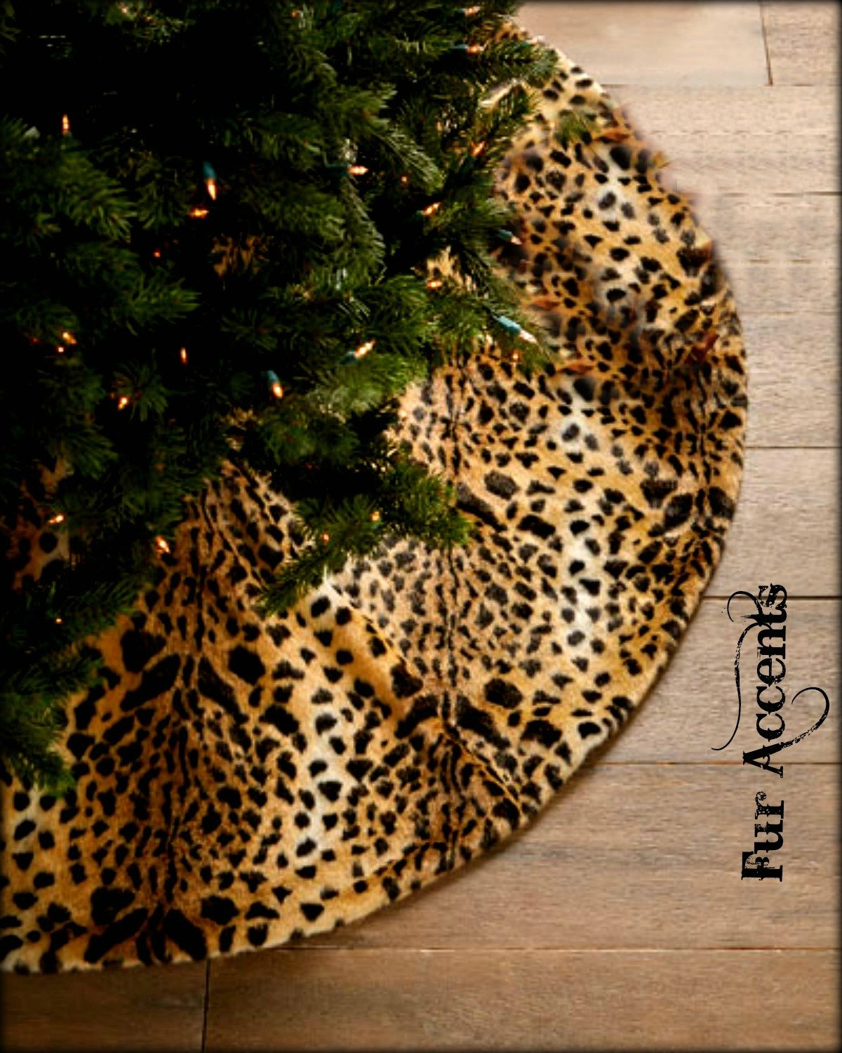 Classic Brown Spotted Leopard Christmas Tree Skirt Premium Quality Faux Fur Round (5' Diameter)