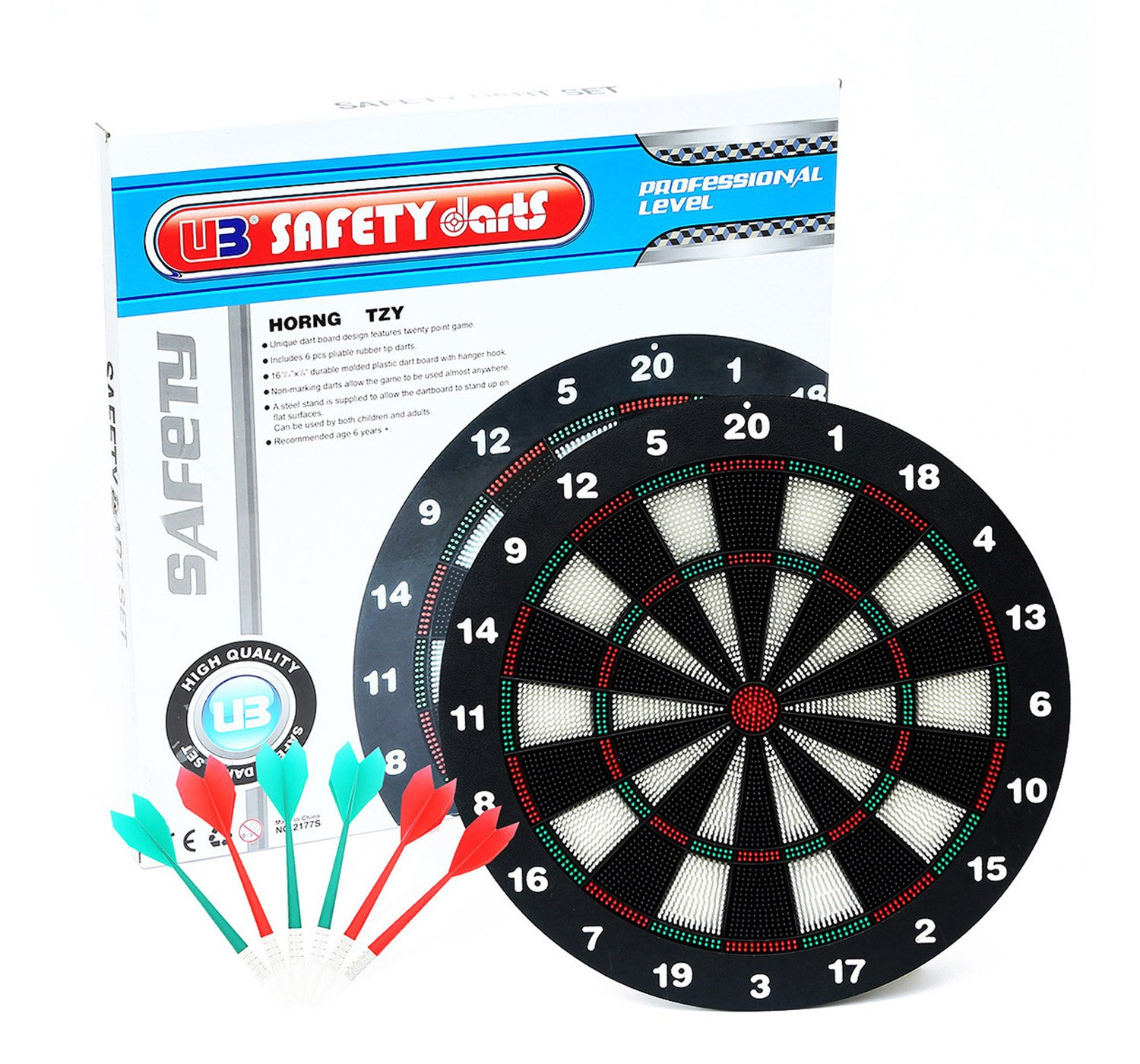 AOQING 16 Inches Safety Dart Board With Soft Safety Darts   Great Games For  Kids Relax And Leisure Sport For Office