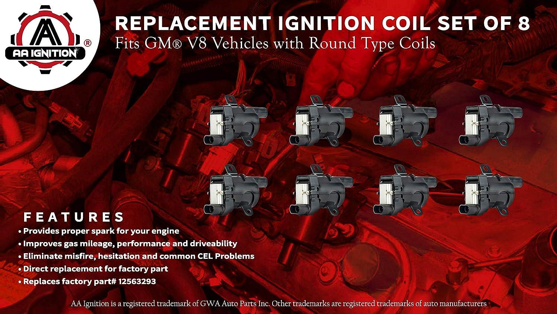 8 IGNITION COILS TAHOE SUBURBAN 2500 07-08 V8 4.8 5.3 6.0L 8 SPARK PLUG WIRES