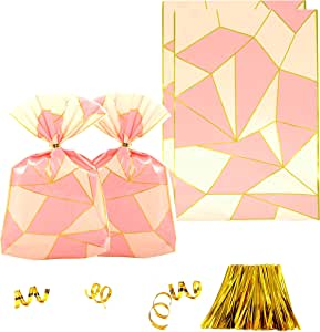 Clear Plastic Cellophane Treat Bags - Pink and Gold Party Favors Cello Bags 1st Birthday Baby Shower Wedding Bachelorette Party Cookie Candy Treat Favors Bags, 200pc