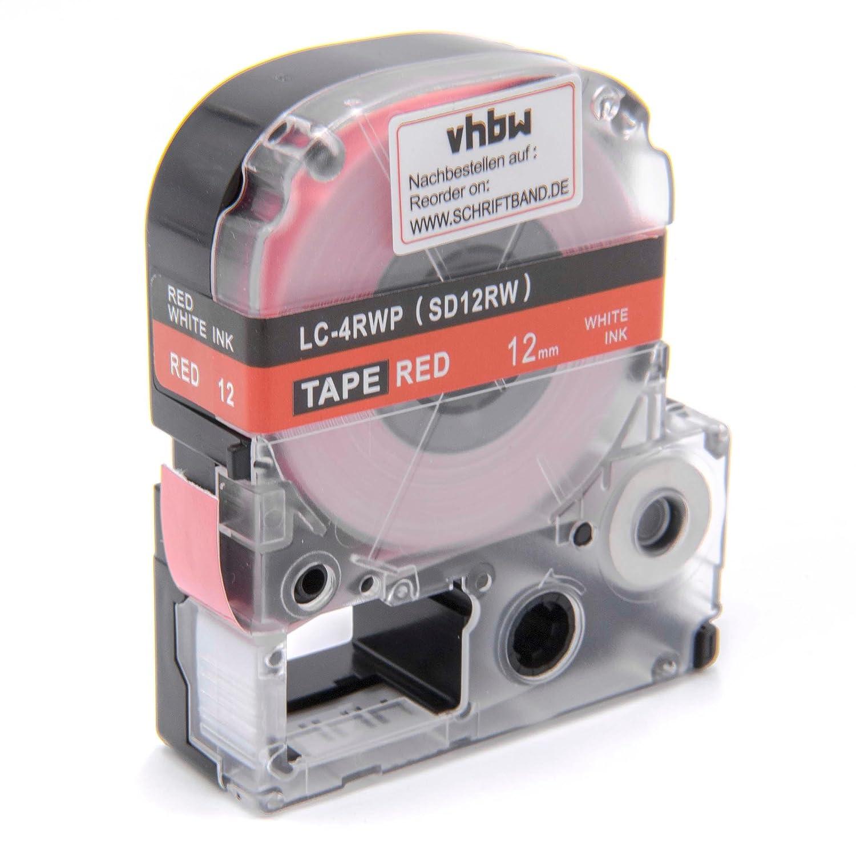 vhbw Cartouche Cassette à Ruban 12mm pour Epson LW-700, LW-300, LW-400, LW-500, LW-900P, OK200, OK300, OK500P, OK720, OK900P comme LC-4RWP, SD12RW. VHBW4251258817650