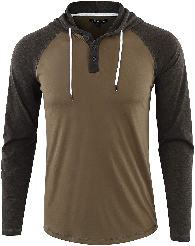 DESPLATO Mens Casual Long Sleeve Lightweight Henley Hooded Shirt Hoodie Jersey