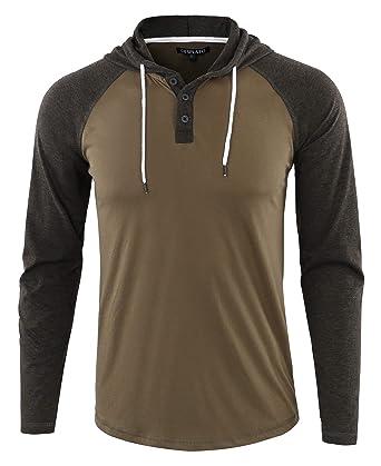 280679c4 DESPLATO Men's Casual Long Sleeve Lightweight Henley Hooded Shirt Hoodie  Jersey Army/H.Charcoal