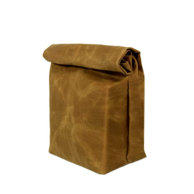 1940s Handbags and Purses History Premium Waxed Canvas Lunch Bags | Brown Color | Durable | ECO-FRIENDLY | Reusable | Washable | Vintage Style $13.99 AT vintagedancer.com