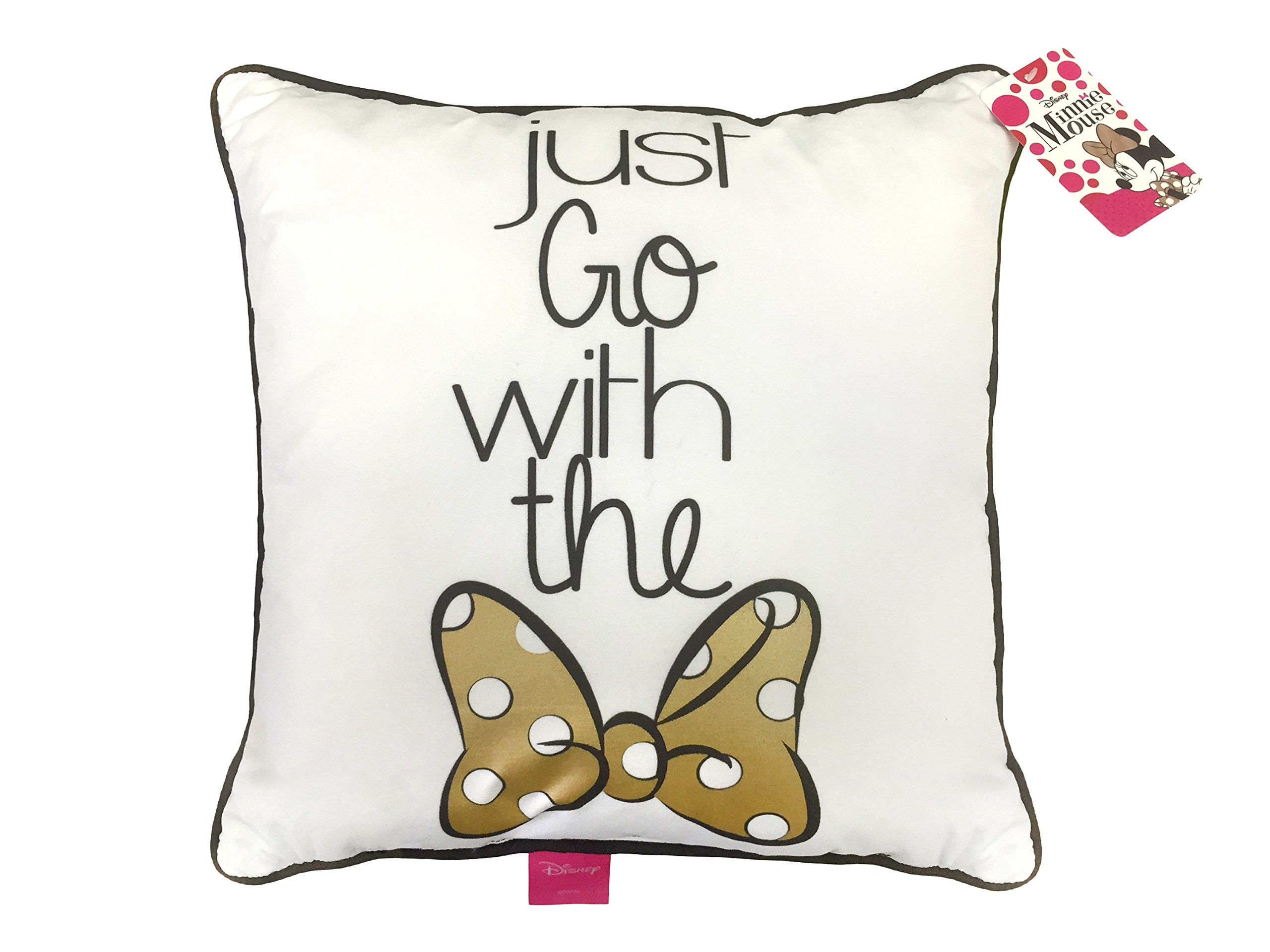 Disney Minnie Mouse Just Go with The Bow Plush Decorative Throw Pillow