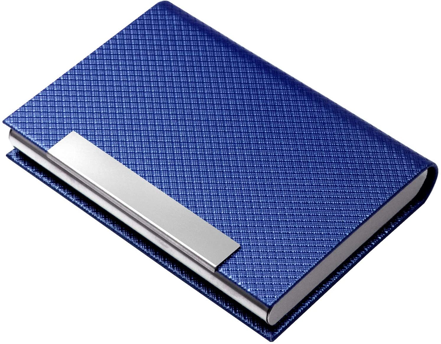 Business Card Holder, Business Card Case Luxury PU Leather & Stainless Steel Multi Card Case,Business Card Holder Wallet Credit Card ID Case/Holder for Men & Women. (T-Blue)…