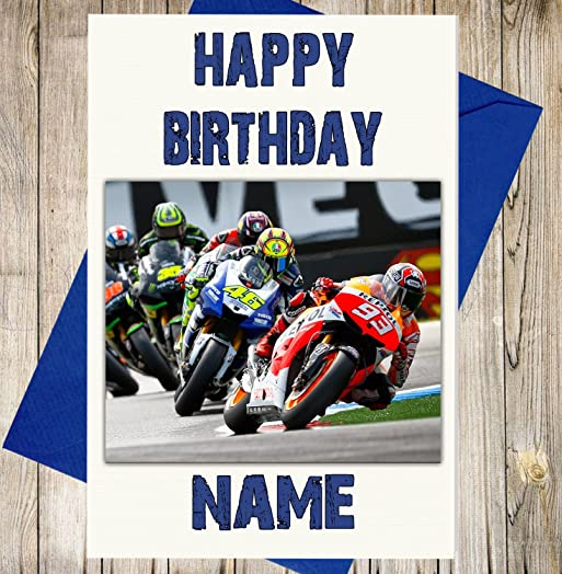 MotoGP Race Personalised Birthday Card Any Name And Age Amazon – Valentino Rossi Birthday Card