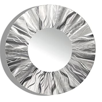 Amazon.Com: Large Round Silver Modern Metal Wall Art
