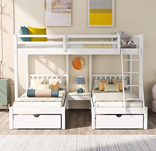 Harper Bright Designs Bunk beds,Full Over Twin bunk Bed,Full Over Twin Twin Bunk Bed