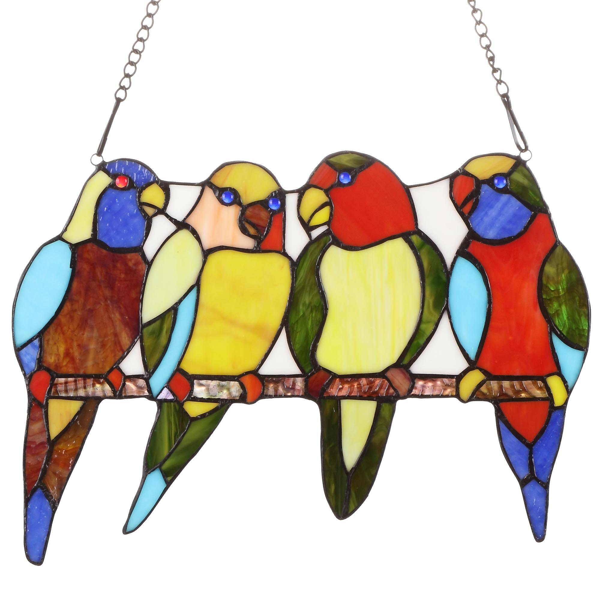 Bieye W10001 Tropical Birds Tiffany Style Stained Glass Window Panel with Hanging Chain, 14.5-inch Wide (4 Birds)