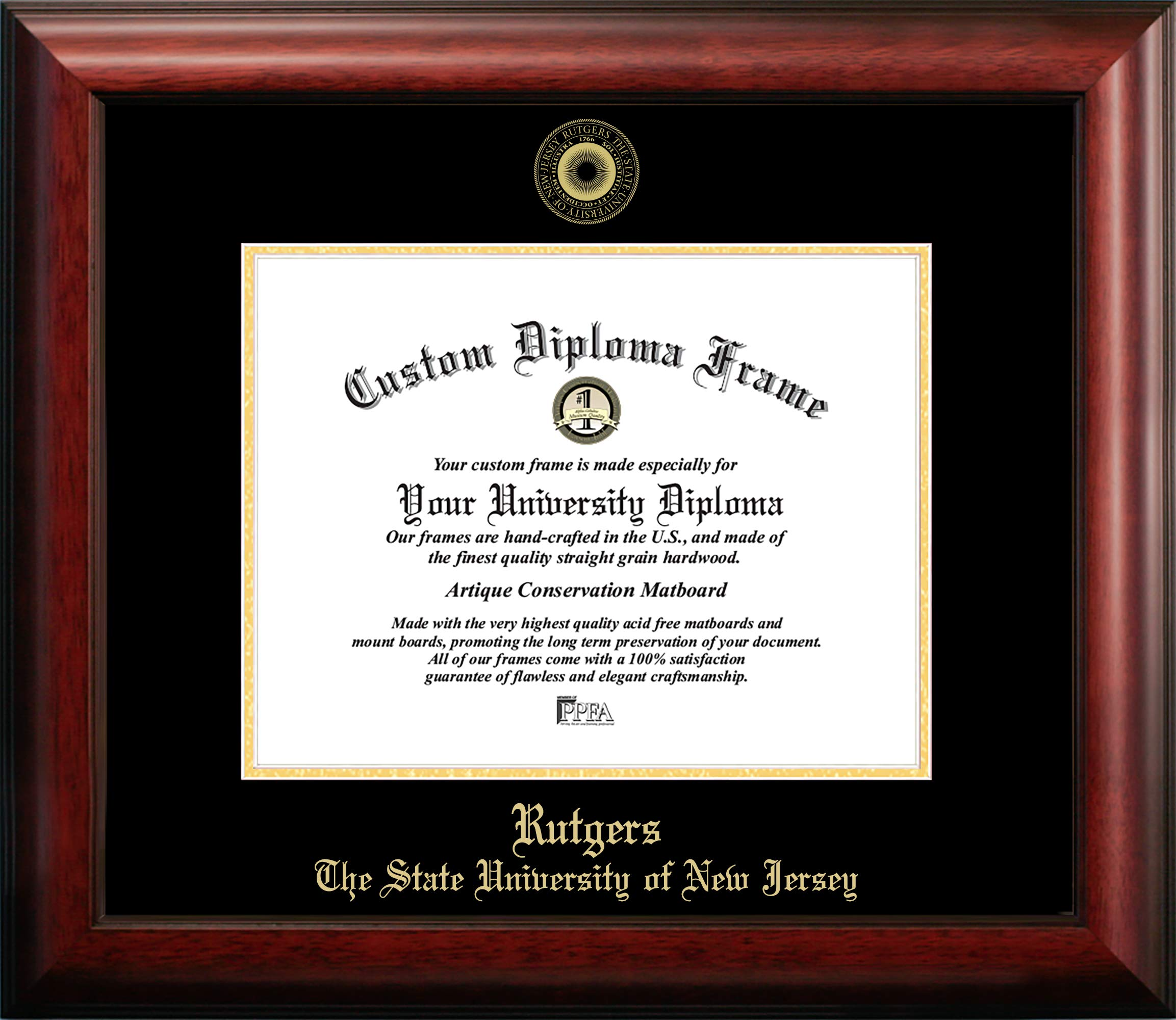 Campus Images Rutgers University, The State University of New Jersey, 11w x 8.5h Gold Embossed Diploma Frame