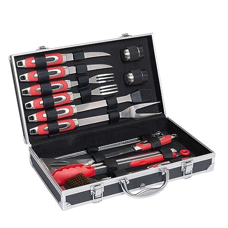 Acero inoxidable Juego de utensilios de barbacoa de 15 piezas, incluye maletín (Juego de