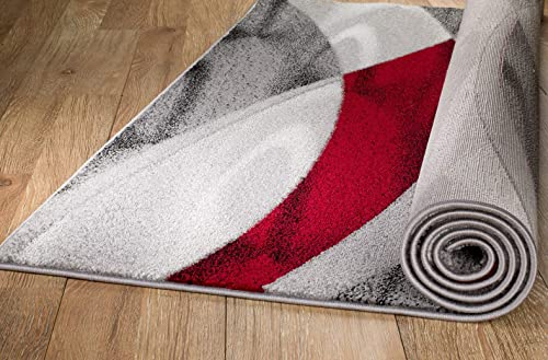 Rio Summit 304 Grey Red Area Rug Modern Abstract Many Sizes Available , 7 .4 x 10 .6