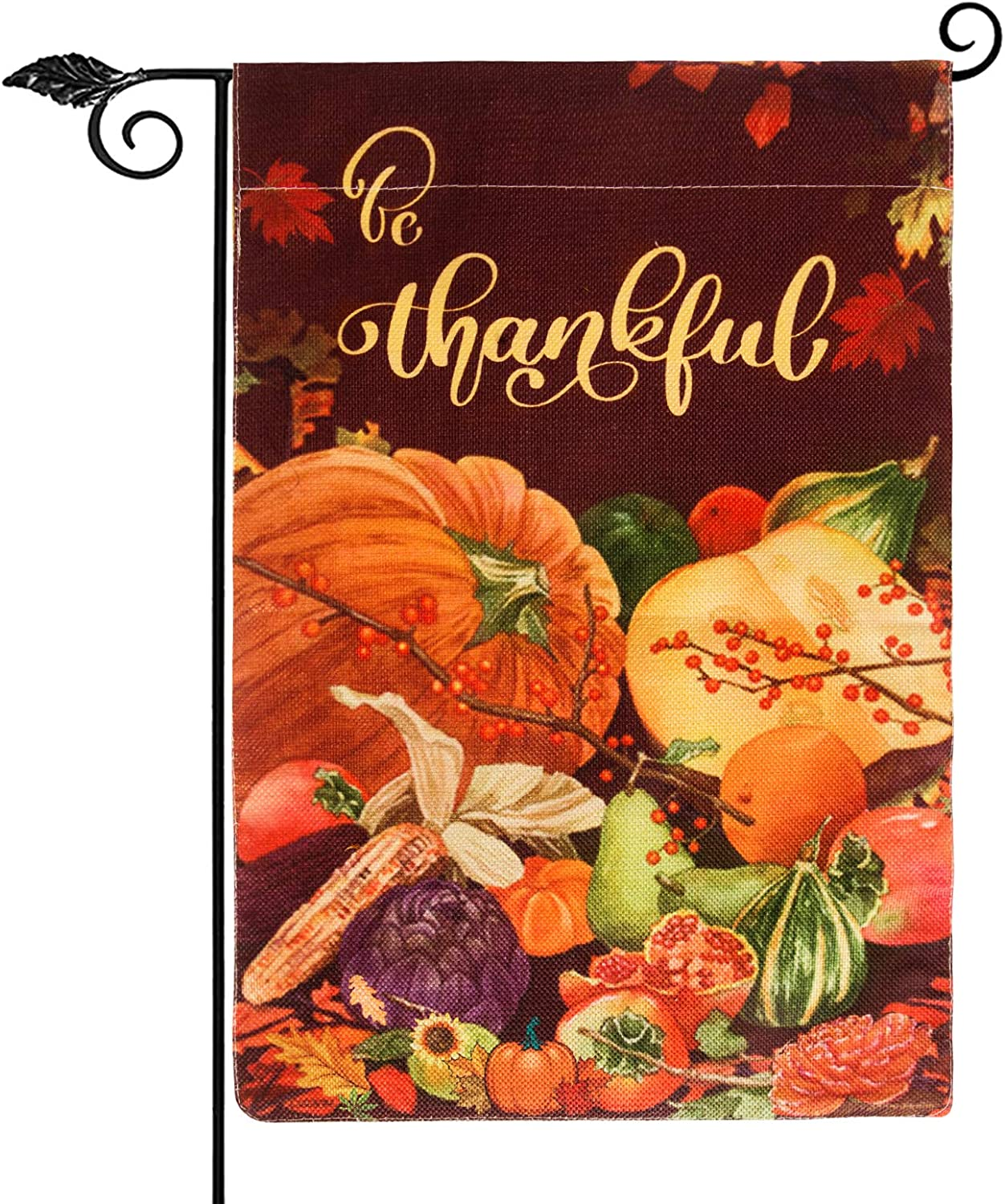 Unves Thanksgiving Garden Flag 12.5Unves Thanksgiving Garden Flag 12.5 x 18 Inch, Be Thankful Thanksgiving Flag Double Sided Decorative Pumpkin Fall Garden Flag for Thanksgiving Day Harvest Fall Autumn Yard Outdoor Decor