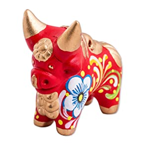 NOVICA Peruvian Hand Painted Red and Gold Ceramic Bull Figurine, Little Red Pucara Bull'