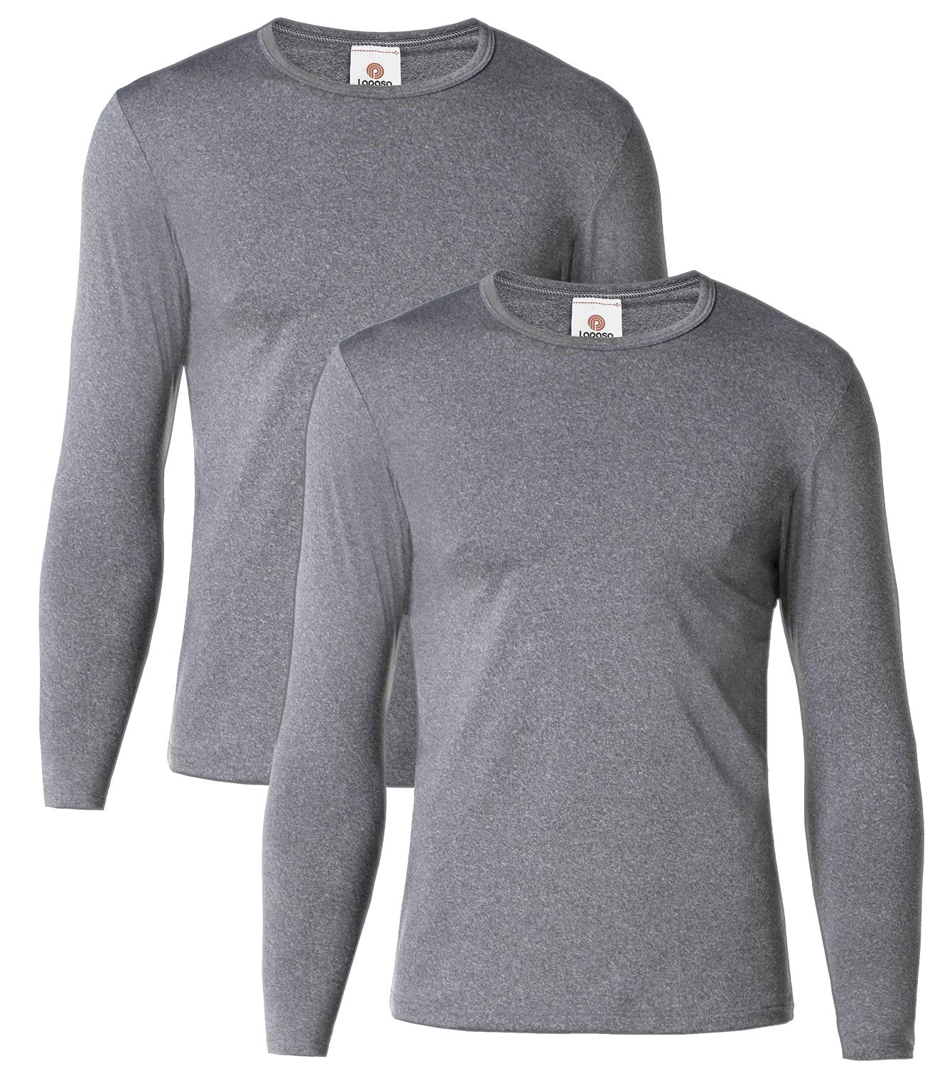 LAPASA Men's Thermal Underwear Tops Fleece Lined Base Layer Long Sleeve Shirts 2 Pack M09 (M Chest 38''-40'' Sleeve 22.8'', Midweight Dark Grey) by LAPASA