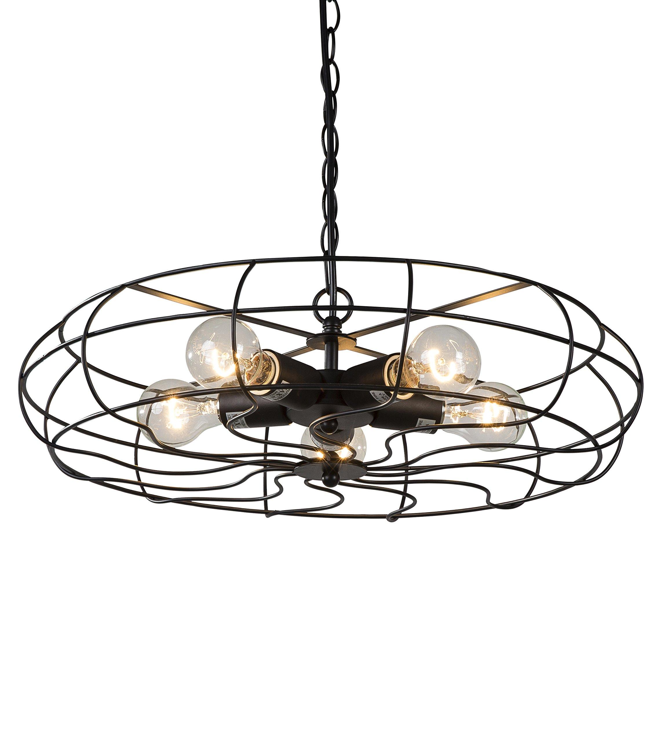 BTExpert 5077 Vintage Matte Finish Industrial Chandelier 5 Lights Fan Style Cage Metal Home Gage 20'' Hanging Pendant, Black