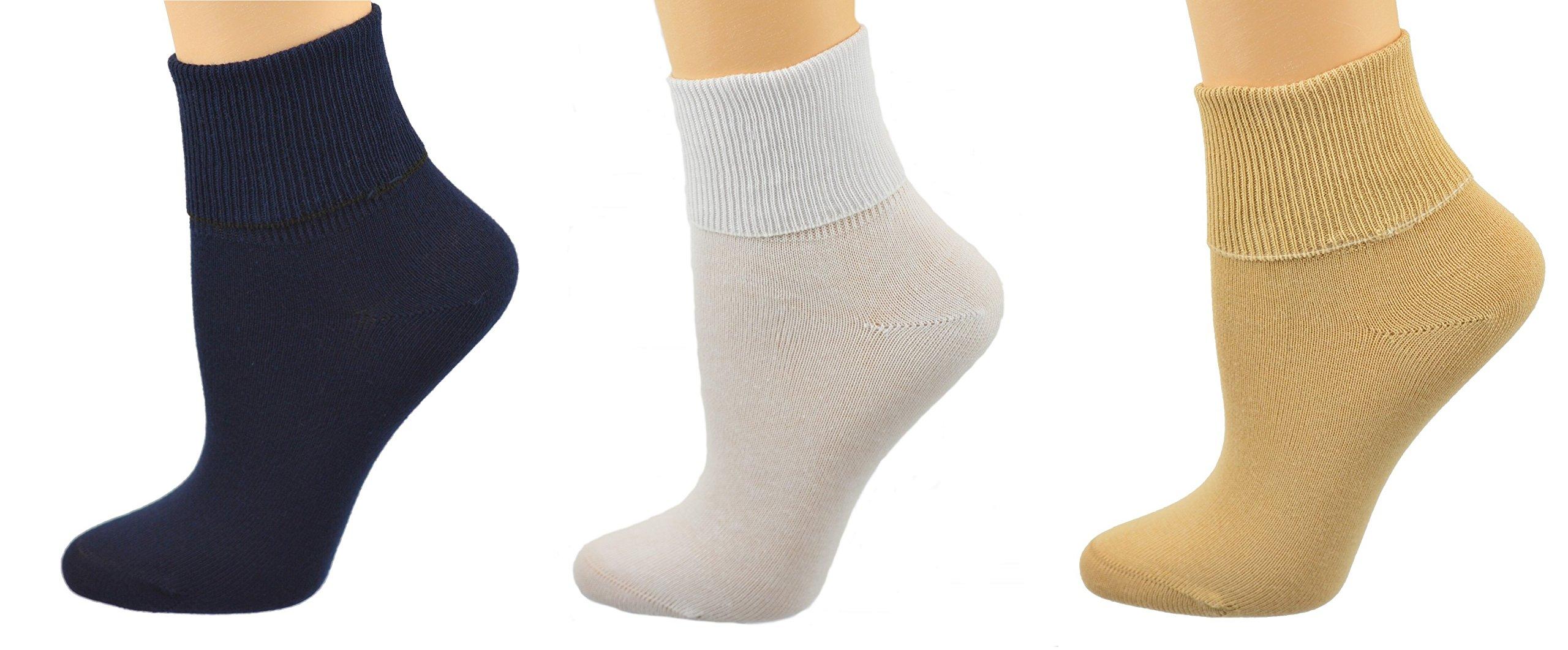 Sierra Socks Women's Diabetic 100% Cotton Ankle Turn Cuff 3 Pair Pack (9, Navy/Khaki/White)