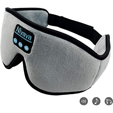 Nivava S8 Sleeping Headphones Bluetooth 5.0 Wireless 3D Eye Mask for Side Sleepers Washable Adjustable Perfect for Traveling (Gray)