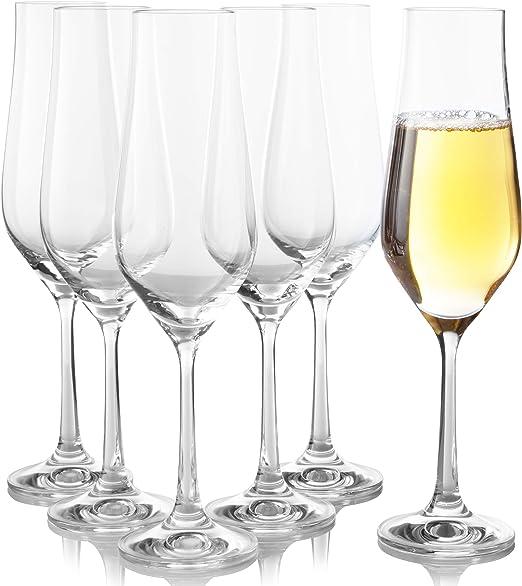 Copas de champán de cristal, 6 unidades, forma de tulipán para boda y tostado, mejor para champán, mimosa, sidra espumosa, vino – Copas sopladas a ...