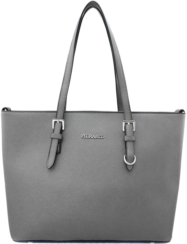 Flora & Co Sac shopper pour femme Gris métallisé Saffiano INBAX-grey metallic