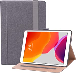 "ProCase New iPad 10.2 Case (2020 8th Generation / 2019 7th Generation), Premium PU Leather Protective Cover Stand Folio Case with Strap for 10.2"" iPad 8 / iPad 7 -Grey"