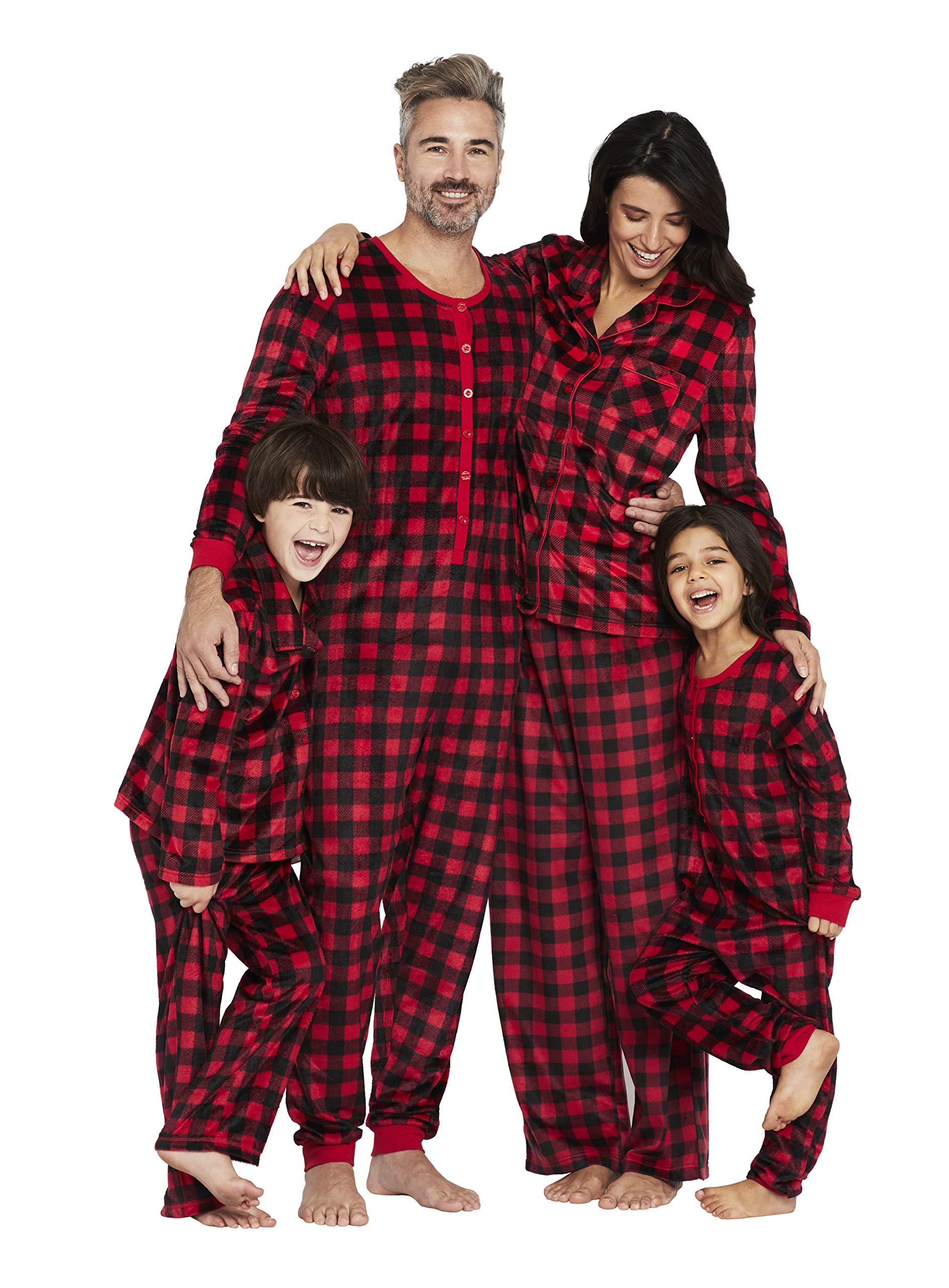 Karen Neuburger Girls' Little Family Matching Christmas Holiday Pajama Sets PJ, Buffalo Plaid red Cherry/Black Combo, Kid M by Karen Neuburger (Image #5)