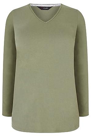 6df8cc4ebab Yours Clothing Women s Plus Size Khaki Long Sleeved V-Neck Jersey Top   Amazon.co.uk  Clothing