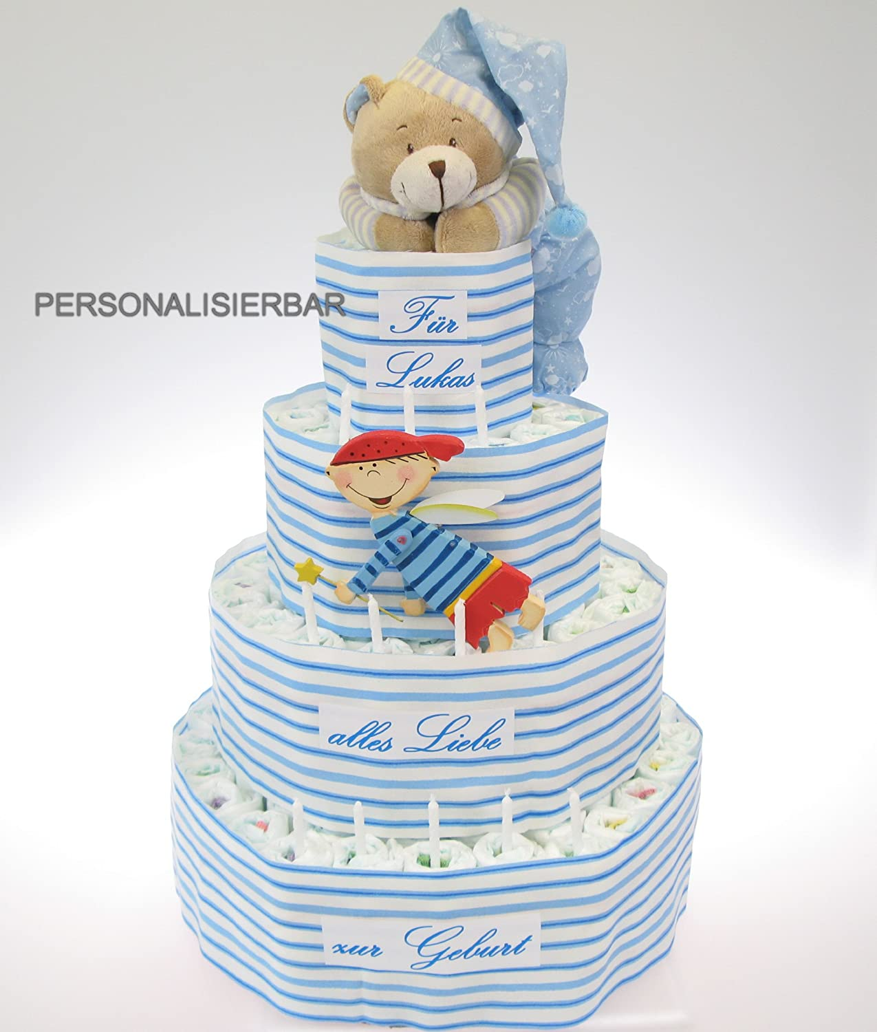 4 Tier Blue Nappy Cake with Name Music Box Bear and