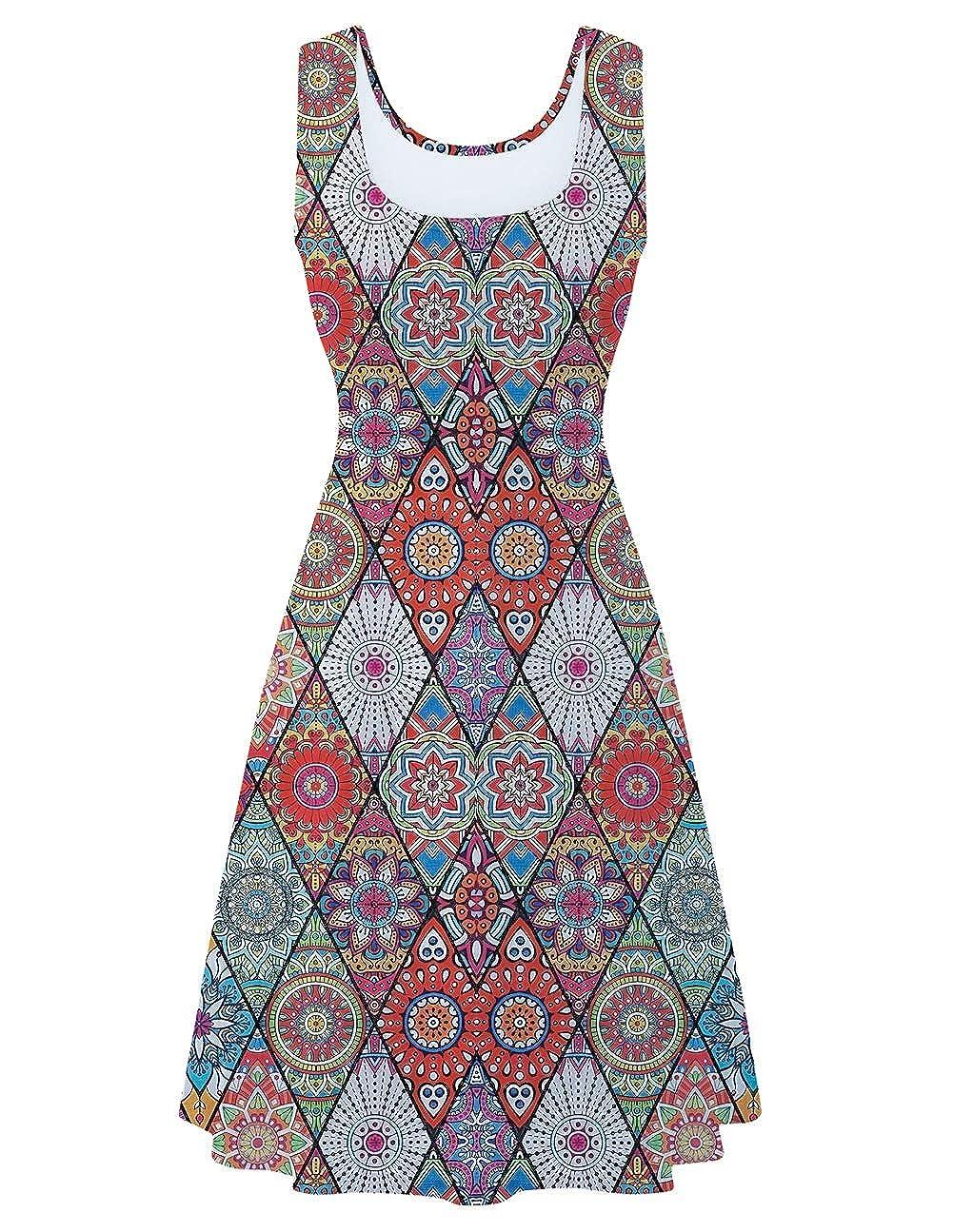 AIDEAONE Womens Sleeveless Dress Vintage Stretchy Sundress 3D Printed Beach Casual A Line Midi Tank Dresses
