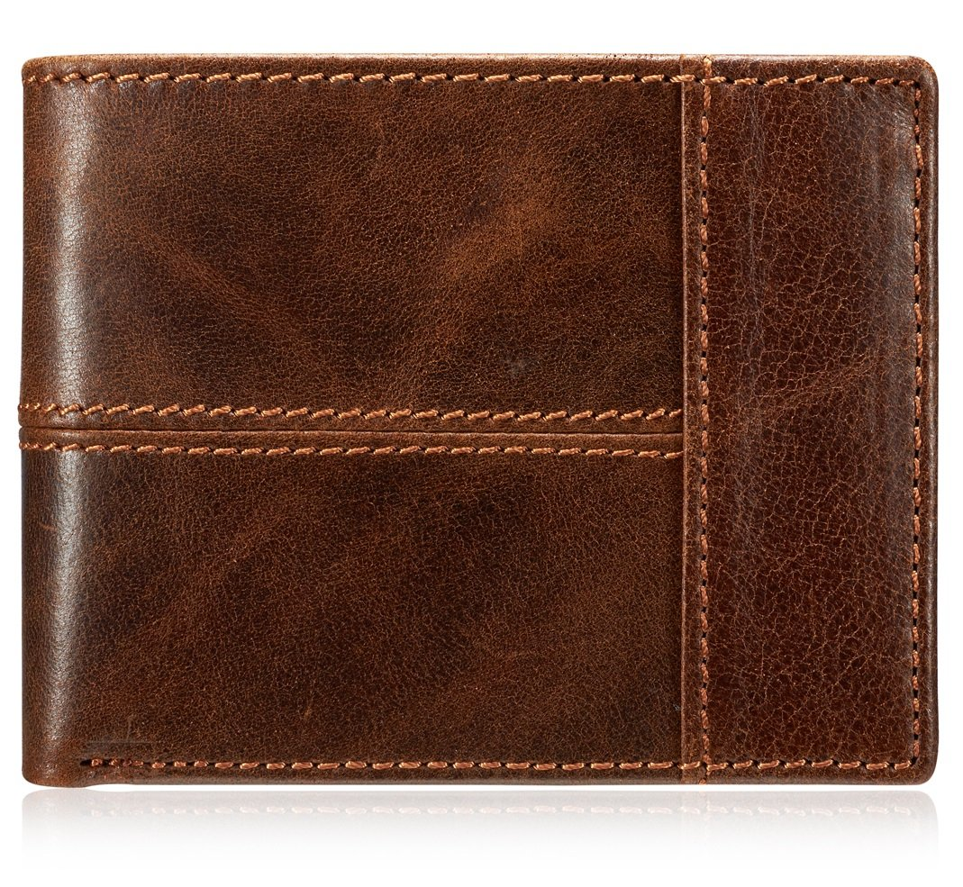 Men's Classic Vintage Brown Genuine Cow Leather Zipper Bifold Wallet