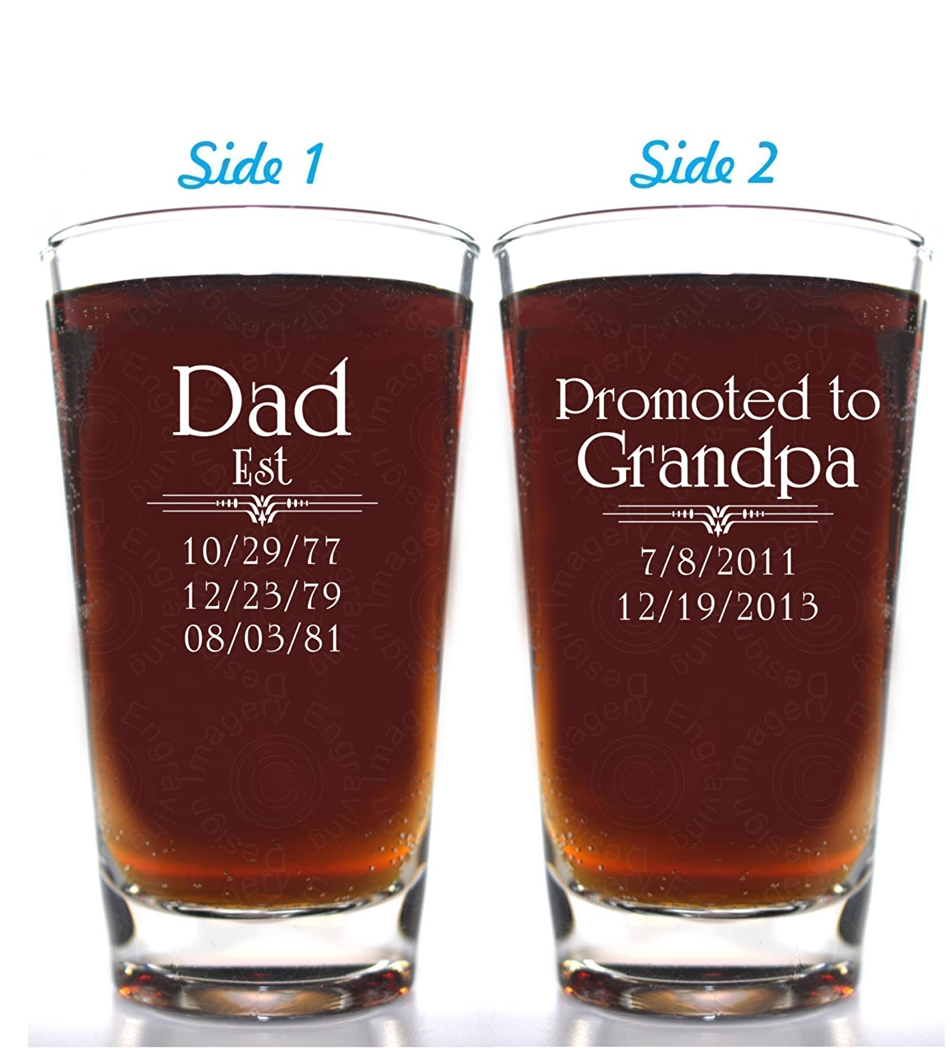 Father's Day Gift Dad Est Beer Glass 2 Side Engraved