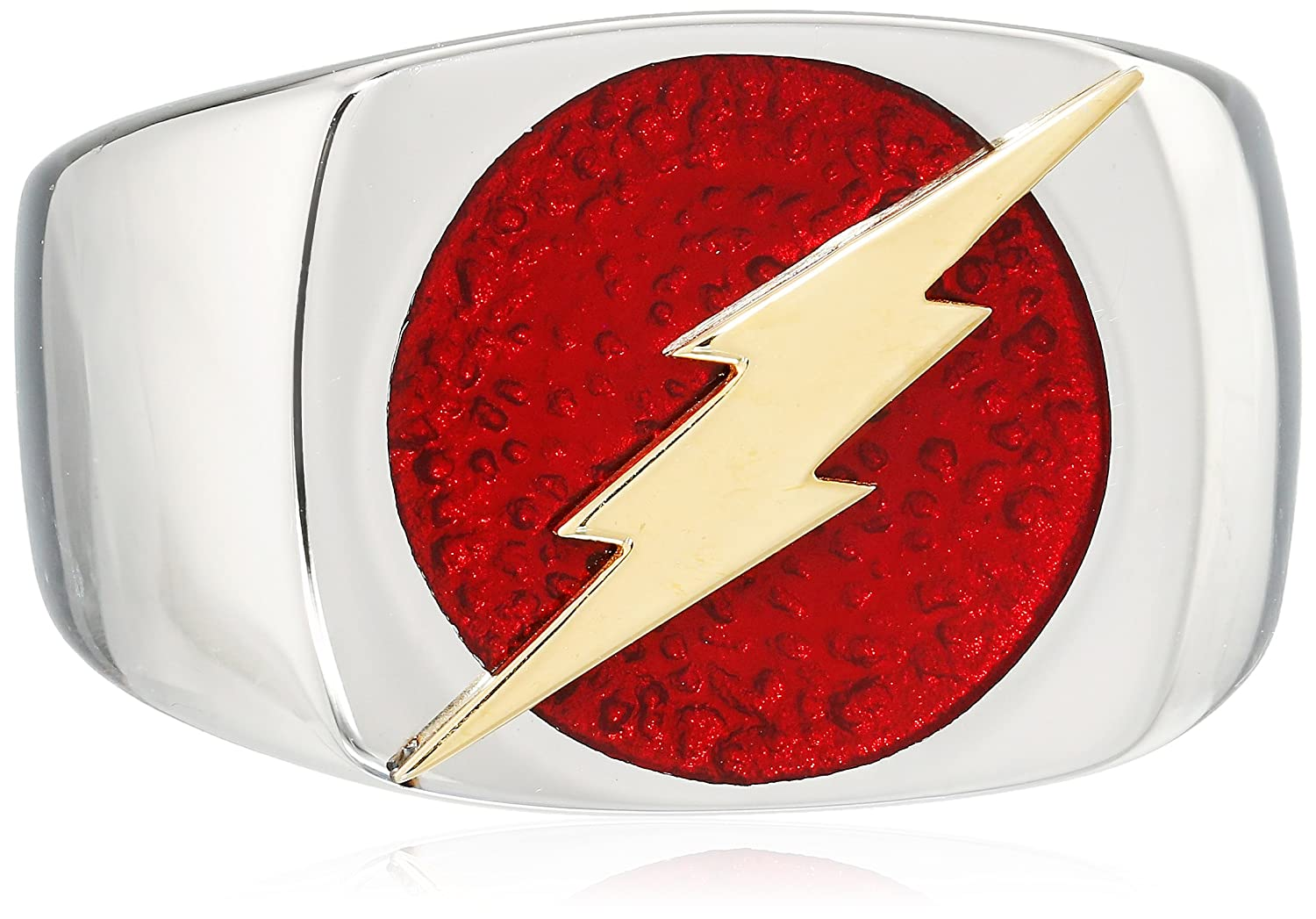 Dc Comics Mens Stainless Steel The Flash Logo Bolt Ring Size 12