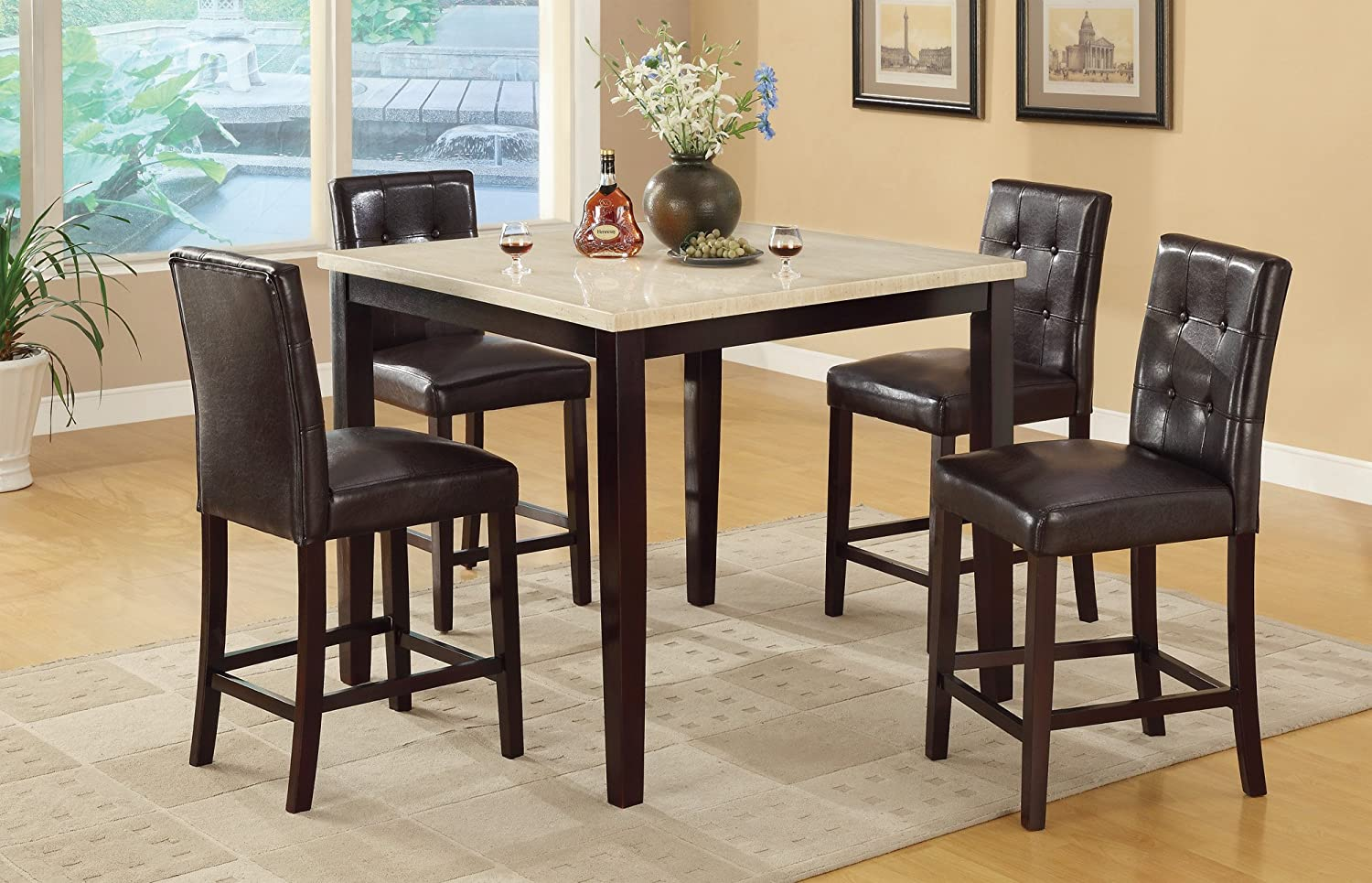 amazoncom counter height table with faux marble top and 4 high chairs table u0026 chair sets