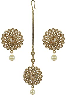 MUCHMORE Traditional Gold Tone Earrings With Maang Tikka Partywear Jewelry (ERMT-10201 LCT)