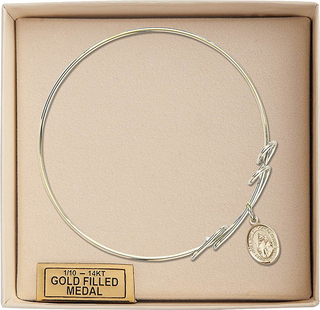 Our Lady Of Consolation Charm On A 8 Inch Round Double Loop Bangle Bracelet