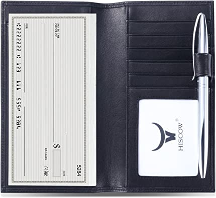 HISCOW Soft Leather Checkbook Cover /& Card Holder with Divider Italian Calfskin