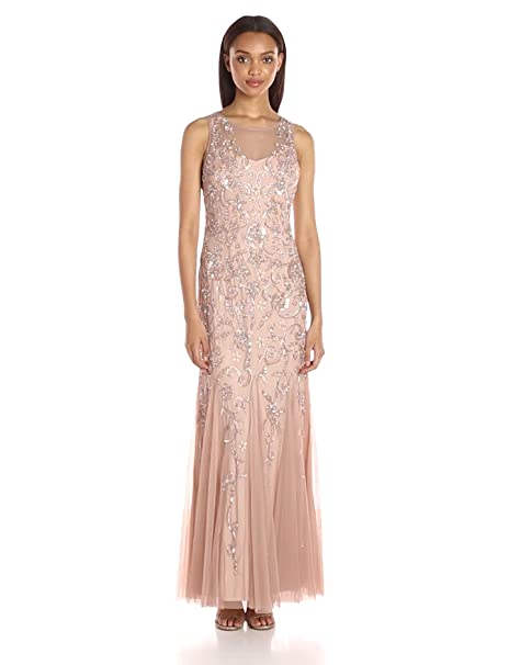1930s Evening Dresses | Old Hollywood Dress Hailey by Adrianna Papell Womens Beaded Gown $199.99 AT vintagedancer.com