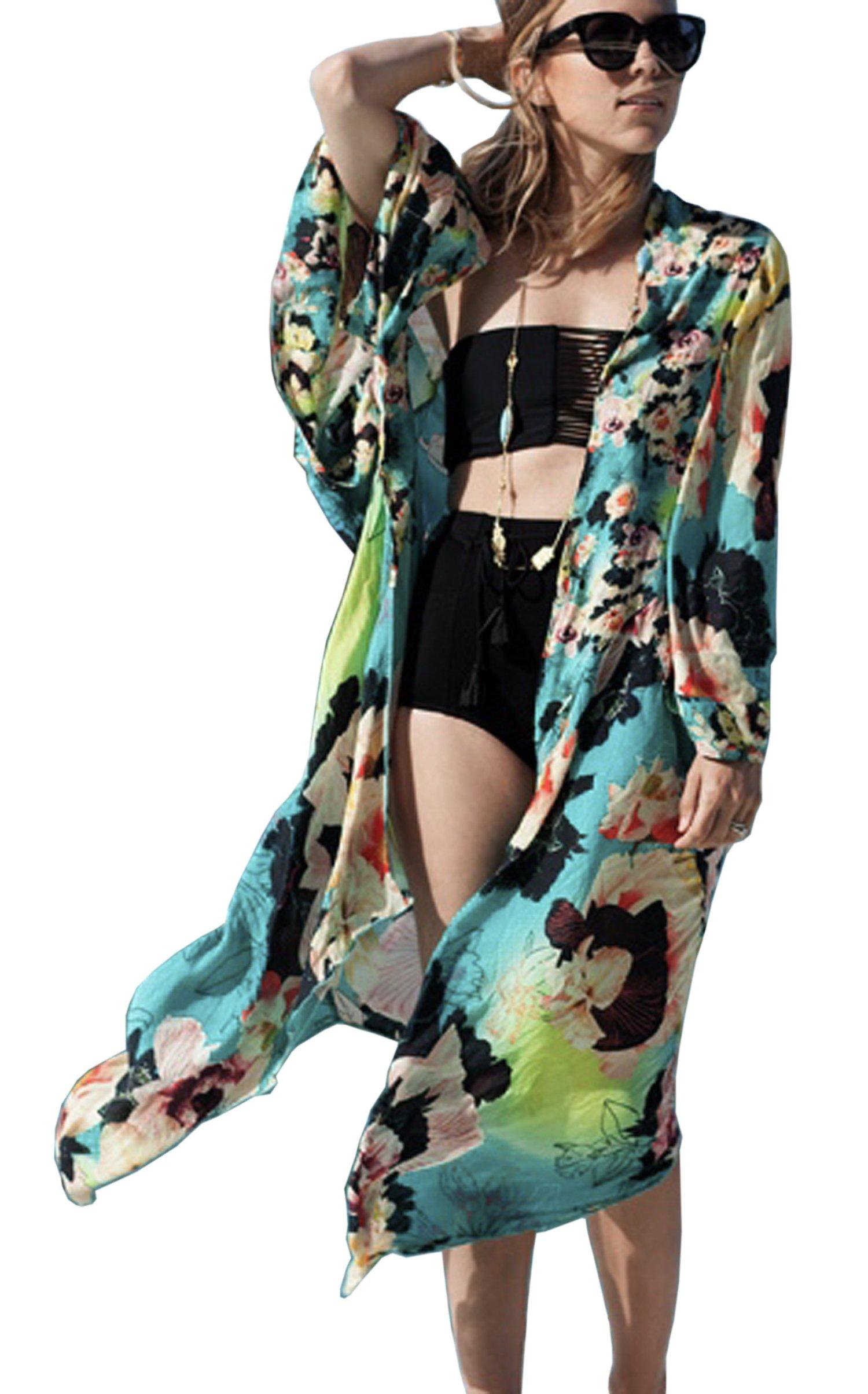 Hibluco Women's Fashion Floral Print Kimono Cardigan Long Tops Loose Cover Ups (Large, K 67)