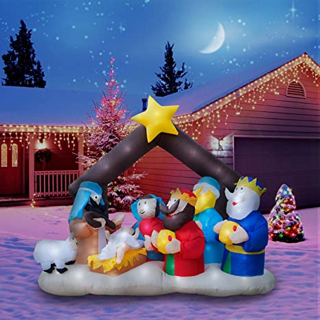 Holidayana Christmas Inflatable Giant 6 5 Ft Nativity Scene Inflatable Featuring Lighted Interior Airblown Inflatable Christmas Decoration With Built