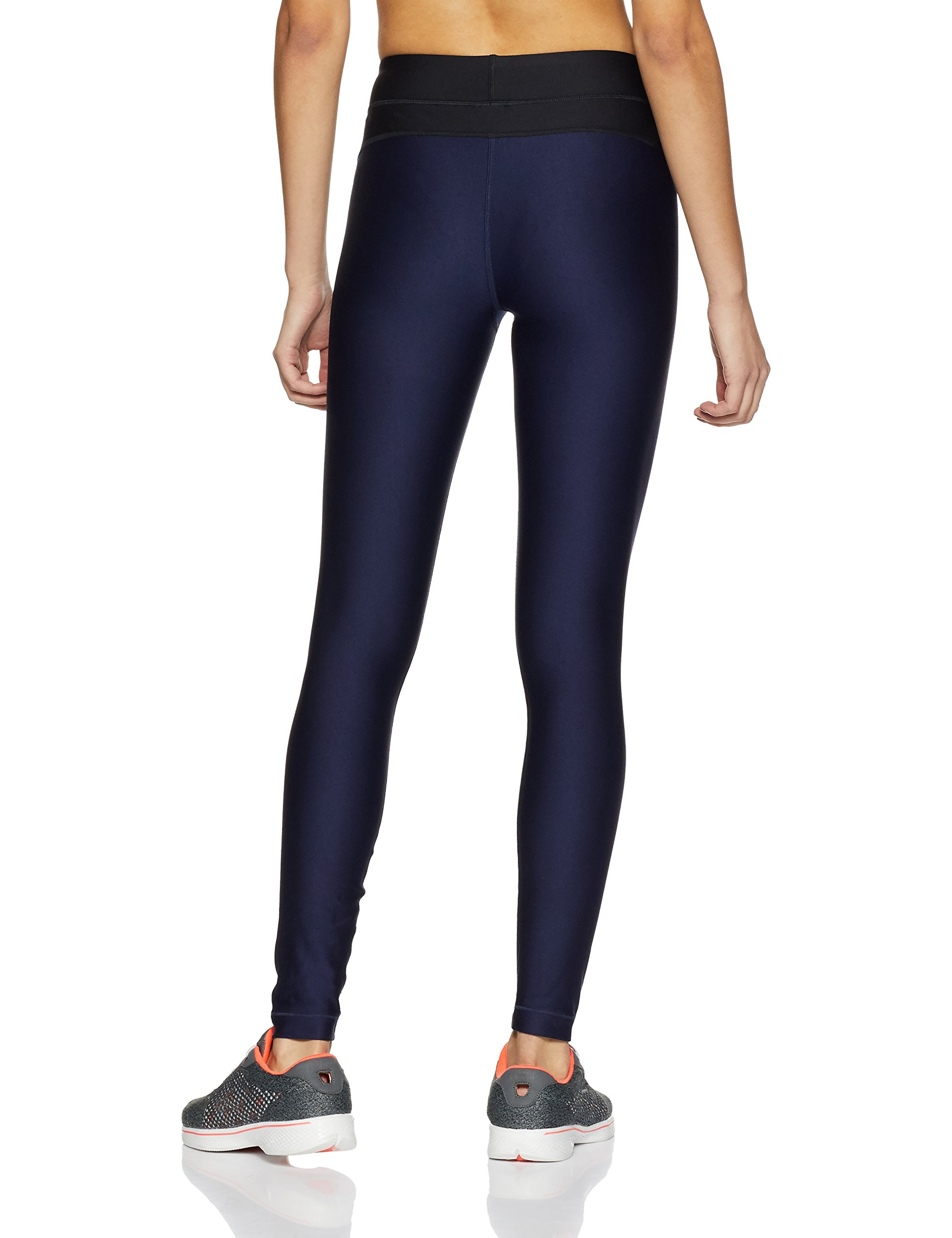 Under Armour Womens Heatgear Armour Leggings, Midnight Navy /Metallic Silver, XX-Large by Under Armour (Image #2)