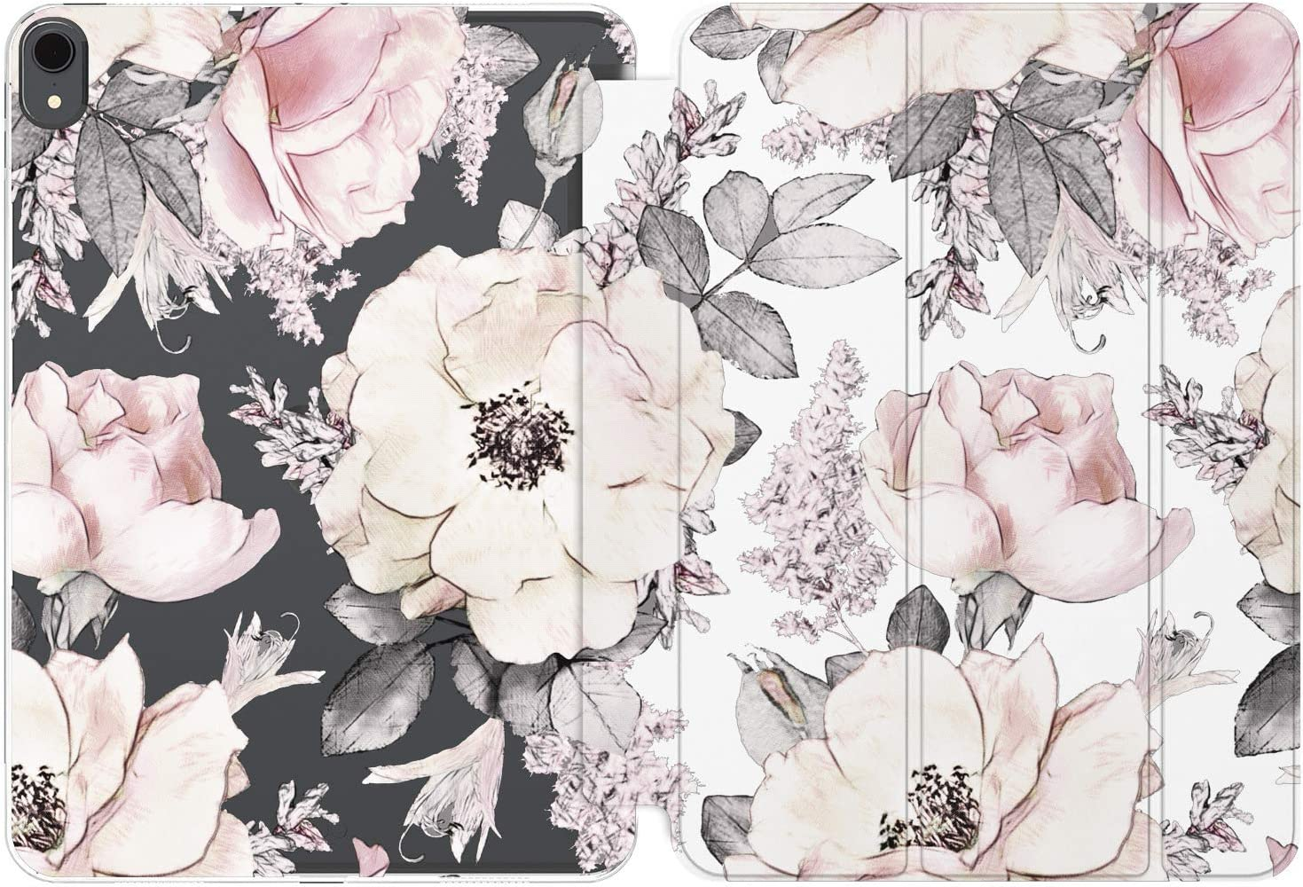 Cavka Case for Apple iPad Air 4th 2020 Gen 3th 10.2 12.9 Pro 11 10.5 9.7 Mini 5 4 3 2 1 Floral Protective Watercolor Leaf Pink Smart Cover Auto Wake Sleep Leaves Flower Roses Peony Grey