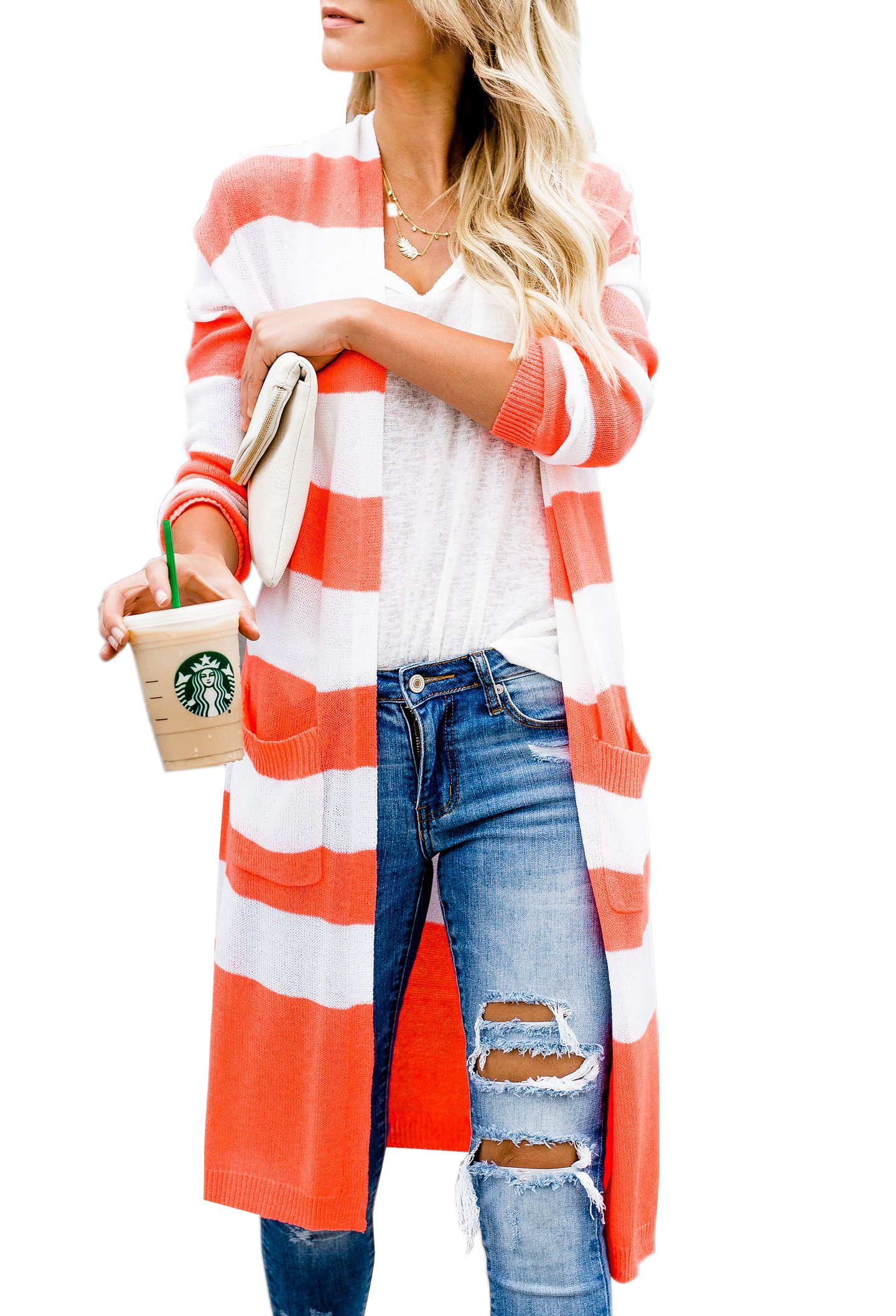 Niitawm Womens Casual Striped Pockets Cardigans Long Sleeve Knit Lightweight Open Front Cardigan Sweater (M, Orange)