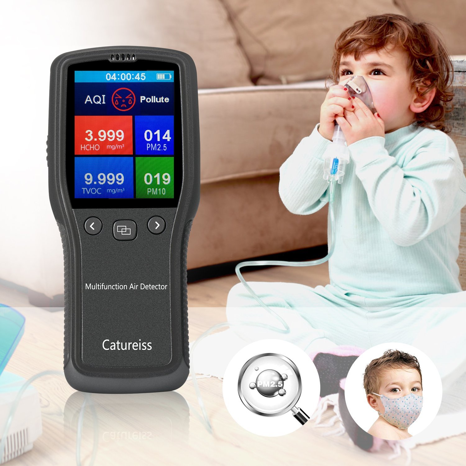 // PM2.5 // PM10 // TVOC Monitor Multi-Functional Formaldehyde Outdoor Detector Air Quality Tester HCHO Vehicle and Other Environmental Air Detection by FUELUS Suitable for Indoor