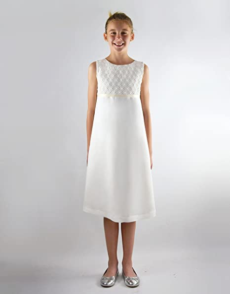 05550aba168c Verasposa® Robe de Communion Blanche pour Filles en Viscose Lin avec de Jolies  Dentelle de Coton Emma en Style Empire