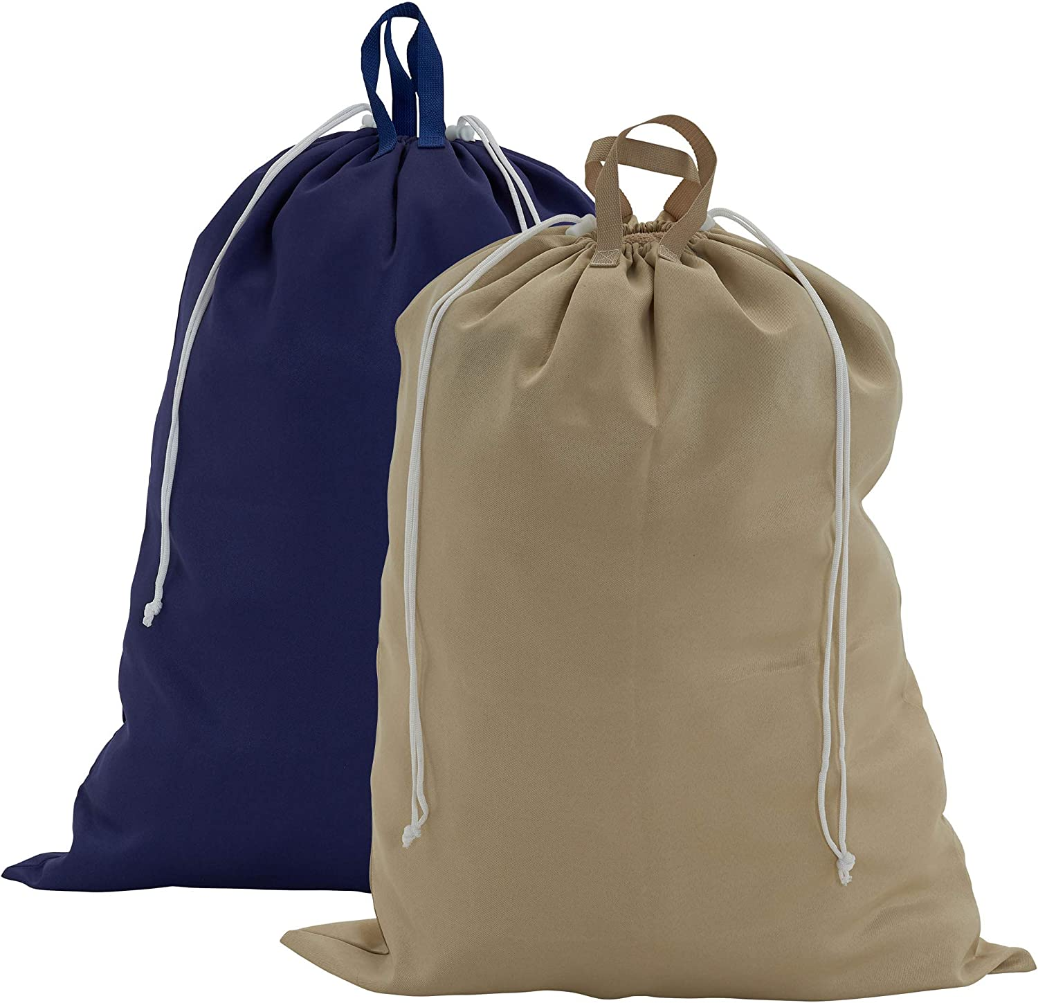 Household Essentials Blue and Beige 136-1 Set of 2 Large Laundry Bags with Handles and Drawstring